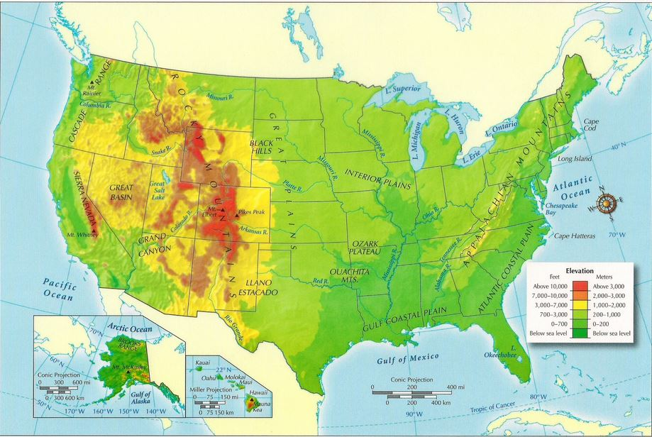 Map Usa Physical Images Physical Map Of United States And - Us physical features map labeled