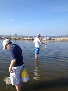 My sons, Chase and James, crabbing at Laguna Madre