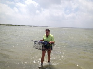 Kelly retrieving crab trap.